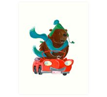 Bear in car Art Print