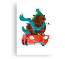 Bear in car Canvas Print