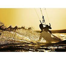sunset kitesurfing Photographic Print