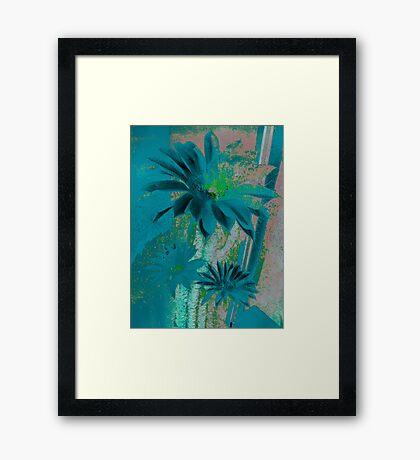 Kaktus Textured Flowers. Framed Print