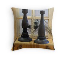 Black Wood Candle Holder Throw Pillow