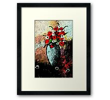 Vase full of flowers, watercolor Framed Print