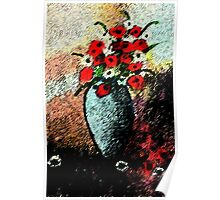Vase full of flowers, watercolor Poster