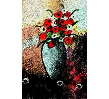 Vase full of flowers, watercolor Photographic Print