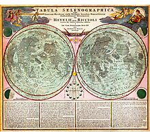 1707 Homann and Doppelmayr Map of the Moon Geographicus TabulaSelenographicaMoon doppelmayr 1707 Photographic Print