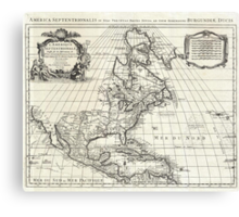 1708 De L'Isle Map of North America Covens and Mortier ed Geographicus AmeriqueSeptentrionale covensmortier 1708 Canvas Print