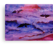 Seagulls fight the waves for fish, watercolor Canvas Print