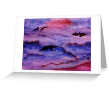 Seagulls fight the waves for fish, watercolor Greeting Card