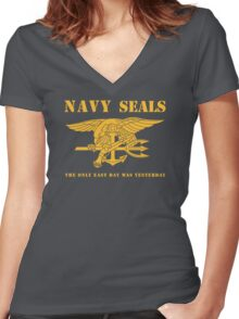 Navy SEALs Stencil Women's Fitted V-Neck T-Shirt