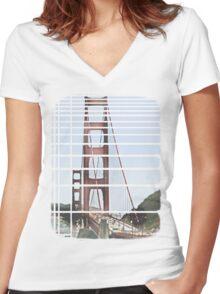 Golden Gate  Women's Fitted V-Neck T-Shirt
