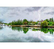 Lightning over the canal at Coral Harbour - Nassau, The Bahamas Photographic Print