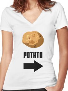 I'm With The Potato Women's Fitted V-Neck T-Shirt