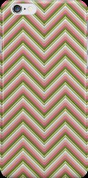 Chevron (Watermelon) iPhone Case by papertopixels