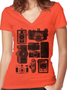 Old Cameras Women's Fitted V-Neck T-Shirt