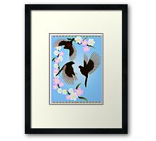 Three Sparrows Poster Framed Print