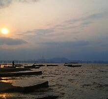 Hong Kong - Sunset at Fishing bay (wide) by Pegasi Designs