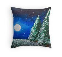 Moonlit Snowy Trees Throw Pillow