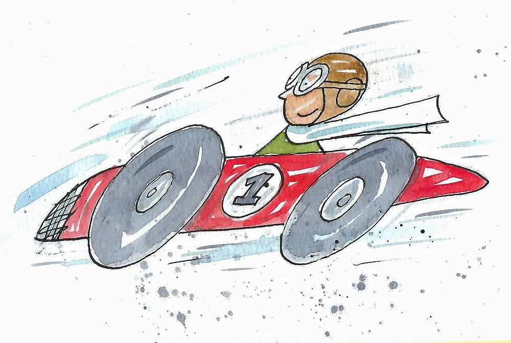 Red Speeding Racing Car no.1 by AndyLanhamArt