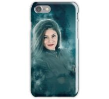 Young hipster woman during a winter storm  iPhone Case/Skin