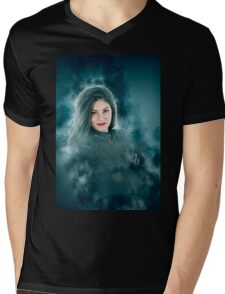 Young hipster woman during a winter storm  Mens V-Neck T-Shirt