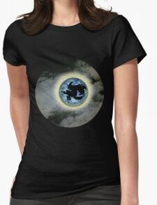 Witch On Broom Blue Moon Halloween  Womens Fitted T-Shirt
