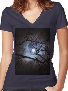 The Full Moon Between Branches Women's Fitted V-Neck T-Shirt