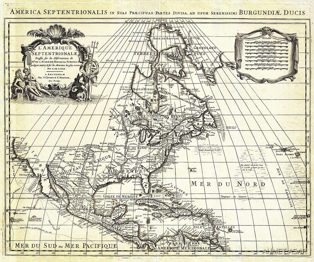 1708 De L'Isle Map of North America Covens and Mortier ed by Adam Asar