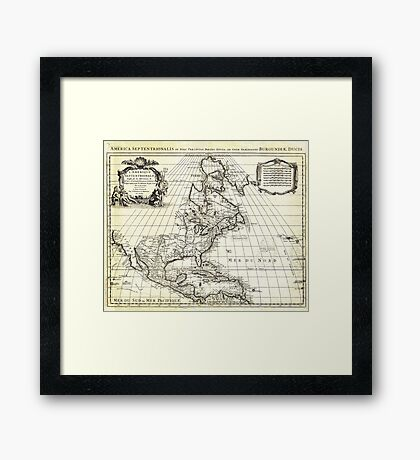 1708 De L'Isle Map of North America Covens and Mortier ed Framed Print