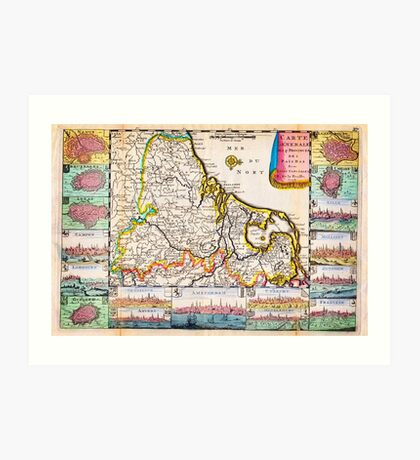 1710 De La Feuille Map of the Netherlands Belgium and Luxembourg Geographicus 17Provinces laveuille 1710 Art Print