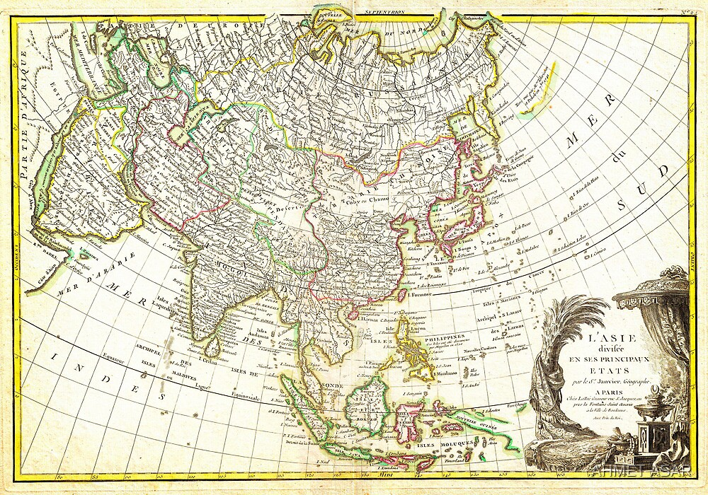 1770 Janvier Map of Asia Geographicus Asia janvier 1770 by MotionAge Media