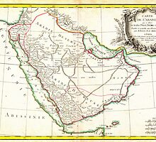 1771 Bonne Map of Arabia Geographicus Arabia bonne 1771 by Adam Asar