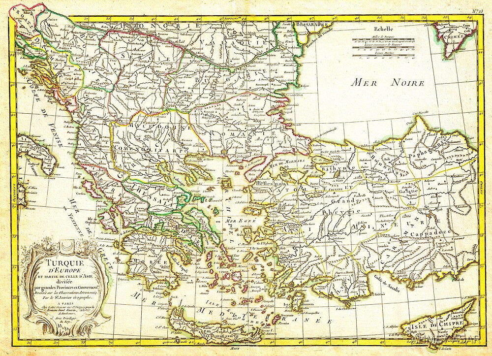 1771 Janvier Map of Greece Turkey Macedonia andamp the Balkans Geographicus TurqEurope janvier 1771 by Adam Asar
