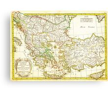 1771 Janvier Map of Greece Turkey Macedonia andamp the Balkans Geographicus TurqEurope janvier 1771 Canvas Print