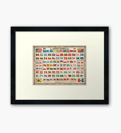 1864 Johnson Chart of the Flags and National Emblems of the World Geographicus Flags johnson 1864 Framed Print