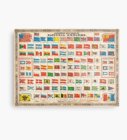 1864 Johnson Chart of the Flags and National Emblems of the World Geographicus Flags johnson 1864 Metal Print