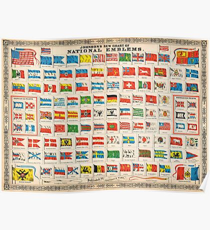 1864 Johnson Chart of the Flags and National Emblems of the World Geographicus Flags johnson 1864 Poster