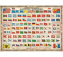 1864 Johnson Chart of the Flags and National Emblems of the World Geographicus Flags johnson 1864 Photographic Print