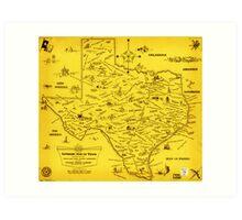 A Literary map of Texas by Dallas Pub Lib (1955) Art Print