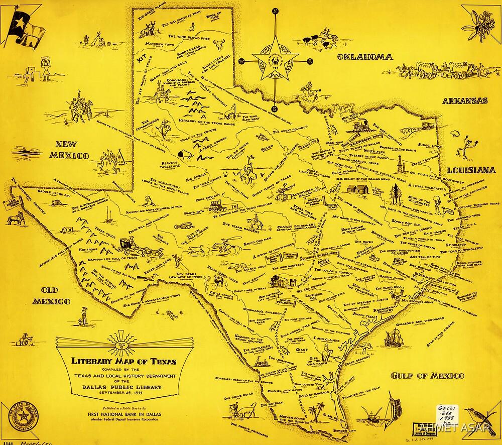 A Literary map of Texas by Dallas Pub Lib (1955) by Adam Asar
