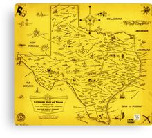 A Literary map of Texas by Dallas Pub Lib (1955) Canvas Print