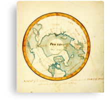 A Map of the Countries situate about the North Pole as far as the 50th degree of north latitude, ca Canvas Print