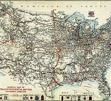 AAA Map of transcontinental routes (1918) by Adam Asar