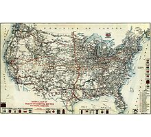 AAA Map of transcontinental routes (1918) Photographic Print