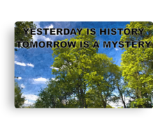 YESTERDAY IS HISTORY TOMORROW IS A MYSTERY Canvas Print