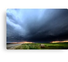 Storm Clouds over Saskatchewan country road Canvas Print
