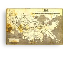 Bayley's Map of Louisiana railroads (1853) Canvas Print