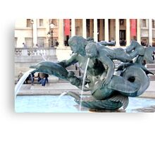 Water in blurred motion from statue.. Canvas Print