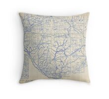 Bicycle Map of Wisconsin (1897) Throw Pillow