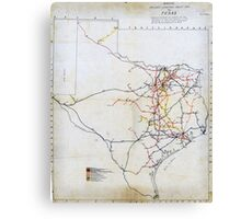 Bissell's railway junction map of Texas (1891) Canvas Print