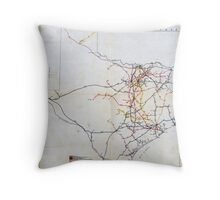 Bissell's railway junction map of Texas (1891) Throw Pillow